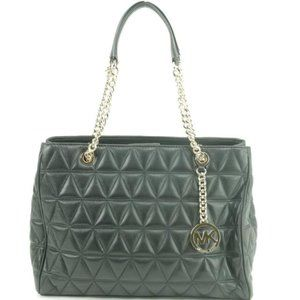 Michael Kors Quilted Black Leather Sussanah Chain
